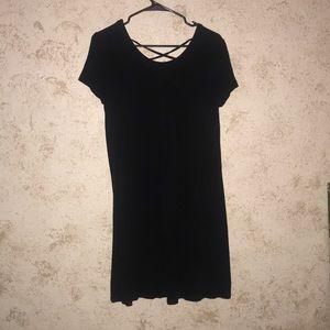 Black T-shirt dress with criss-cross details